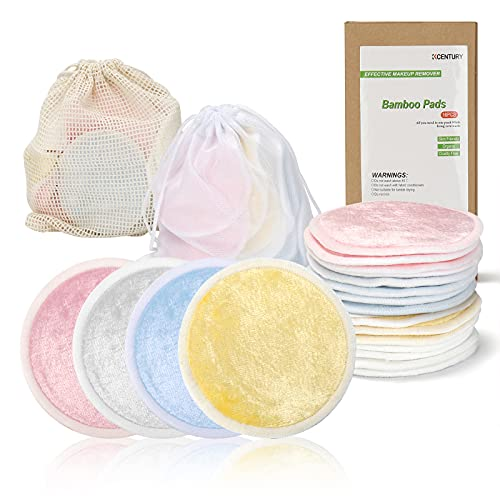 KCENTURY Reusable Makeup Remover Pads, Washable face Cleaner and Eyes Make Up Remover Pads, Eco Friendly & Zero Waste Cotton Round pads for All Skin Types with Bamboo Fiber Organic Cotton (16PCS)