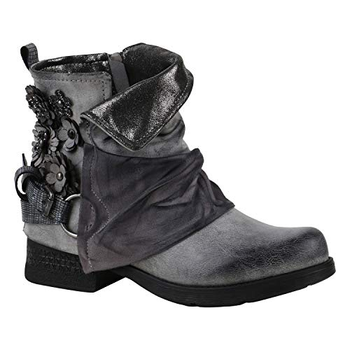 Gefütterte Damen Biker Boots Nieten Schnallen Stiefeletten Grau Blumen 38 Flandell