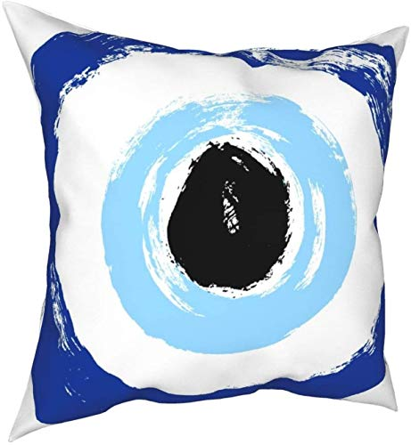 Pillow Case Cotton Polyester Blend Throw Pillow Covers Grunge Hand Drawn Turkish Evil Eye Mandala Greek Evil Eye Symbol of Protection in Bed Home Decor Cushion Cover 18 x 18 Inch