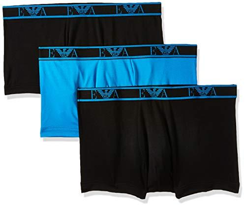 Emporio Armani Underwear Herren Multipack - Monogram 3-Pack Trunk Badehose, Schwarz (Nero/CERULEO/Nero 75320), Small (Herstellergröße:S)