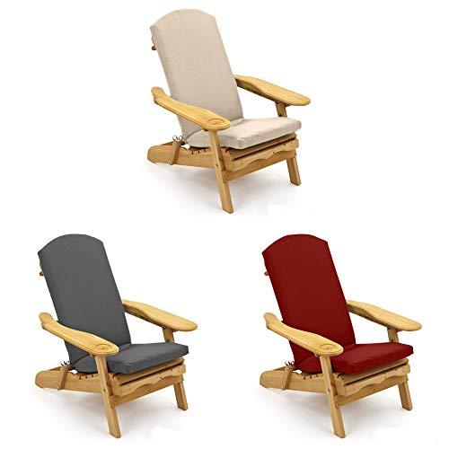 Trueshopping Grey Adirondack Garden Chair Cushion Padded Outdoor Cushion for Garden & Patio Chair Loungers (Cushion Only)