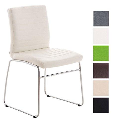Esszimmerstuhl Lea Kunstleder | Küchenstuhl Mit Polsterung | Sitzhöhe: 47 cm | In Vielen Farben, Farbe:weiß