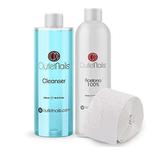 Cleaner para uñas 500ml Coco Azul + Acetona 100% Pura 500ml + Celulosas...