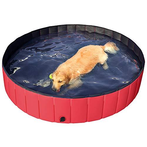 Yaheetech Piscina per Cani Grandi Bagno per Cani Gatti Pieghevole Antiscivolo Lavandino per Animali Coniglio in PVC da Esterno Interno Rosso XXL 160 x 30 cm