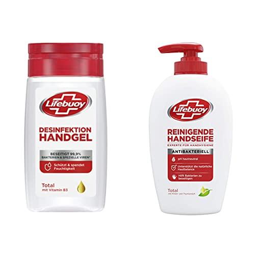 Lifebuoy Handdesinfektions-Set, Handdesinfektionsgel 1 x 50 ml + Flüssigseife im Pumpspender 1 x 250 ml
