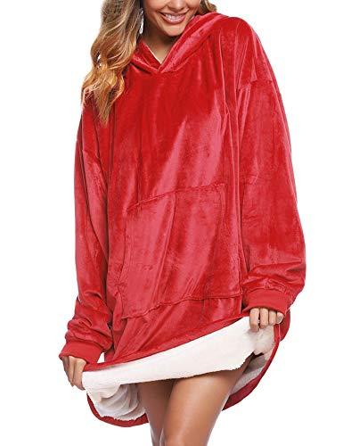 iClosam Übergroße Hoodie Sweatshirt Decke mit Riesen Hoodie Fronttasche für Erwachsene Männer Frauen Jugendliche, Rot, L