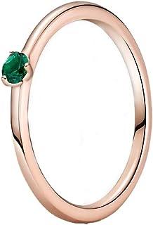 PANDORA Colours - Anillo Solitario Verde de Plata de Ley chapada en Oro Rosa de 14 Quilates con circonita Verde, Talla 58