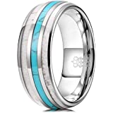 THREE KEYS JEWELRY Mens Charming Jewelry 8mm Tungsten Green Hunting Vikings Turquoise Polished Wedding Carbide Antler Inlay Ring Band for Men Engagement Silver Size 9.5