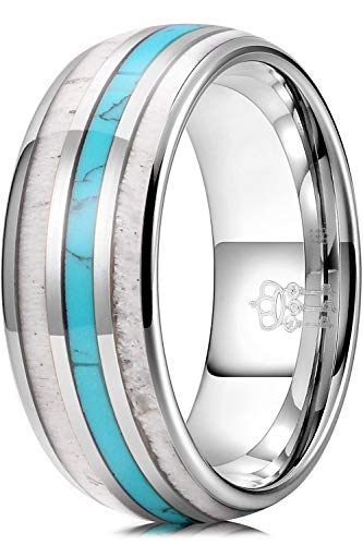 THREE KEYS JEWELRY Men Wedding Bands 8mm Tungsten Hunting Viking Carbide Created Turquoise Ring with Antler Inlay Polished Infinity Unique for Him Silver Size 10