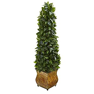 Nearly Natural 38in. Sweet Bay Cone Topiary Artificial Decorative Metal Planter Silk Trees, Green