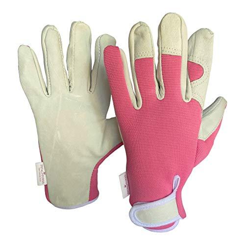Petal Power Ladies Leather Gardening Gloves – Work gloves for Women for garden and household tasks (Medium, Pink)