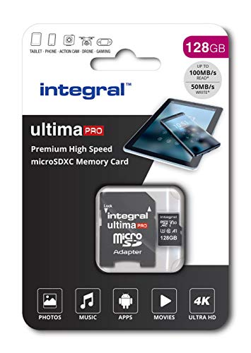 Integral 128GB Micro SD Card 4K Video Premium High Speed Memory Card SDXC Up to 100MB s Read Speed and 50MB s Write speed V30 UHS-I U3 Class 10