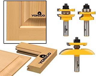 Yonico 12343 Round Over 3 Bit Raised Panel Cabinet Door Router Bit Set with Back-cutter Panel Raiser 1/2-Inch Shank