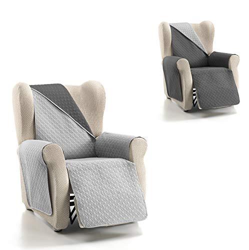 Cardenal Textil RUBÍ Cubre Sofa Bicolor Reversible, Perla/Gris, 1 Plaza/Relax