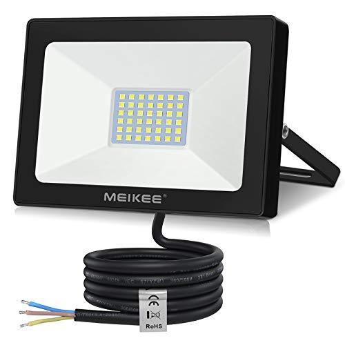 MEIKEE, faretto LED da esterno da 35 W, super luminoso, 3500 lm, 6500 K, luce bianca fredda, IP66, impermeabile, per garage