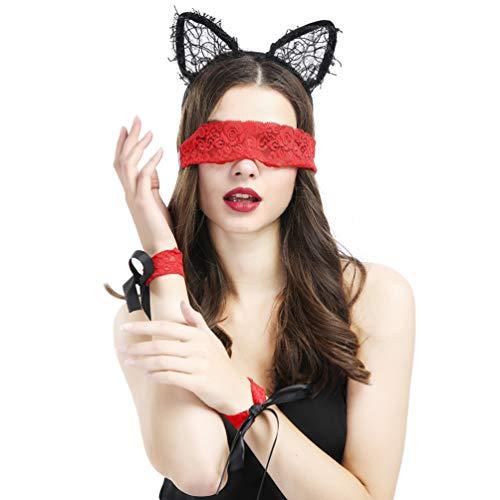 SUPVOX 3 piezas esposas de encaje máscara de ojos de seda parejas placer juegos de rol juguetes