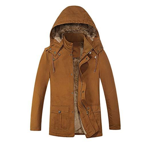 Komise Men's Autumn Winter Casual Hood Pure Colour Jacket Button Outwear Coat Tops - Multicolour - One Size Yellow