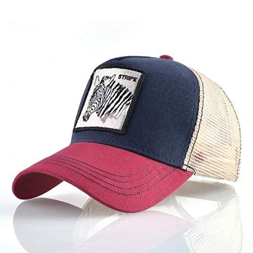 Gorras de béisbol de Moda Hombres Mujeres Snapback Hip Hop Sombrero Verano Malla Transpirable Sun Gorras Unisex Streetwear-Red1 Zebra