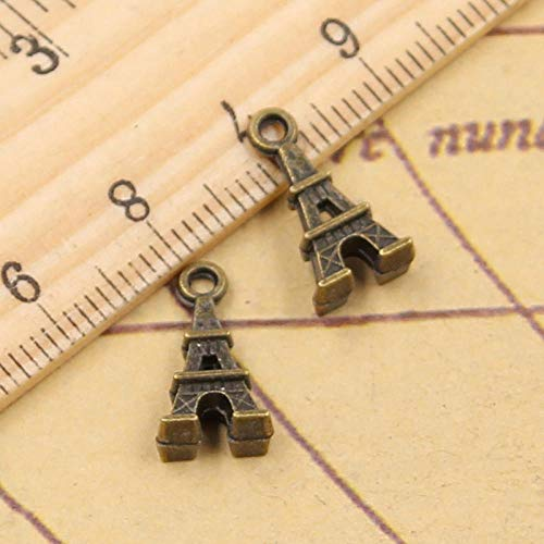 WANM 30Pcs Charms Eiffel Tower Paris 15X8Mm Tibetan Bronze Silver Color Pendants Crafts Making Findings Handmade Antique Diy Jewelry