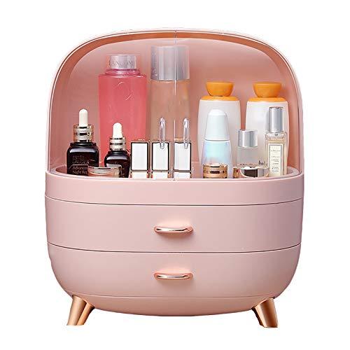 HWLL Estuches de Maquillaje Caja de Almacenamiento de Maquillaje Rosa con Puerta Giratoria, Caja de Cosméticos de Belleza de Alta Capacidad con Cajón, para Niñas Adolescentes, Mujeres y Mujeres