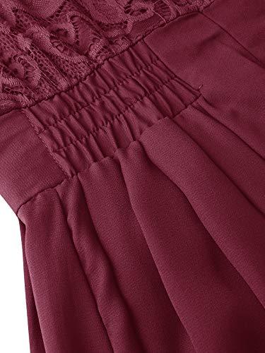 ZANZEA Vestido de Fiesta Encaje Manga Larga Mujer Tallas Grandes Elegant Vestido de Cóctel de Noche Cortos 02-Vino Rojo M