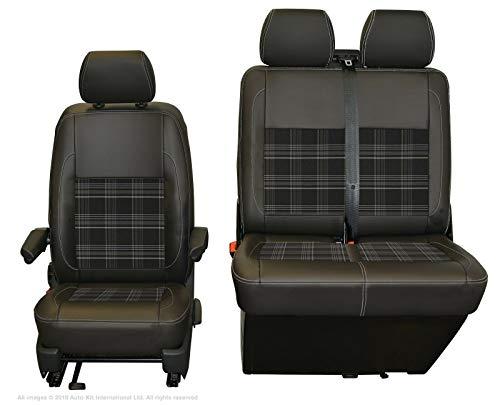 INKA - Funda para asiento delantero de piel sintética negra mate con opciones de Vin GTI Tartán Centros de tela para VolksWagen Transporter T6 T5 (gris oscuro)