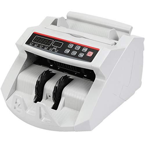VEVOR FJ0288 Geldzählmaschine Weiß mit Echtheitprüfung Banknotenzähler 1000 Stück/min mit UV- und MG-Systeme 7 kg Geldscheinzähler mit LED Bildschirm für Euro Dollar Pfund (26 x 23,5 x 17 cm)