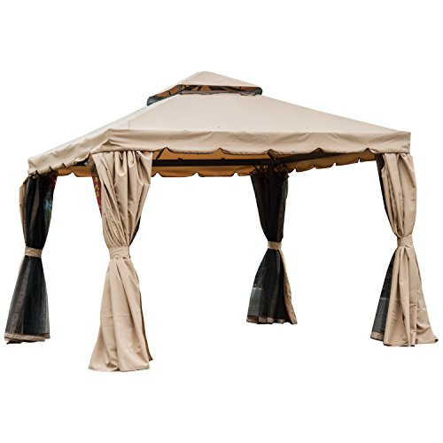 Outsunny 10' x 10' Outdoor Patio Gazebo with Beautiful Polyester Curtains, 2-Tier Roof, & Mesh Screen Drapes, Khaki