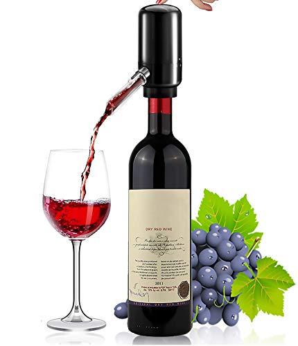 Ataller - Aeratore elettrico per vino, pompa erogatore di vino, versatore automatico di vino, decanter istantaneo per vino, con tubo in silicone, portatile e alimentato a batteria, colore: nero