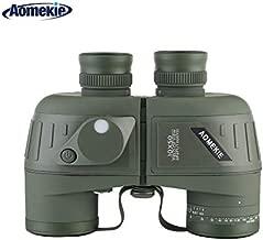 AOMEKIEMarine Binoculars forAdults 10x50 Waterproof Binoculars with Rangefinder Compass BAK4 Prism FMC Lens for Birdwatching Hunting Boating