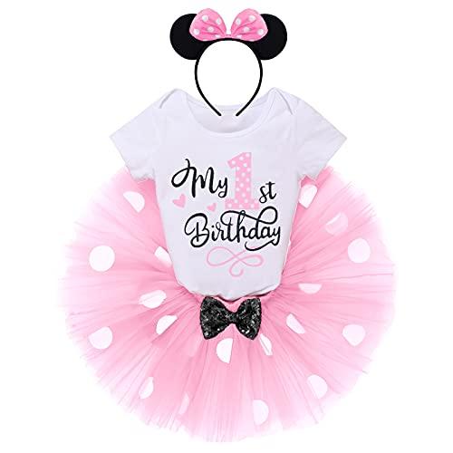 FYMNSI Conjunto de ropa de 3 piezas para bebé, de algodón, de manga corta, con tutú de lunares y diadema. Rosa-1º cumpleaños 1 Año