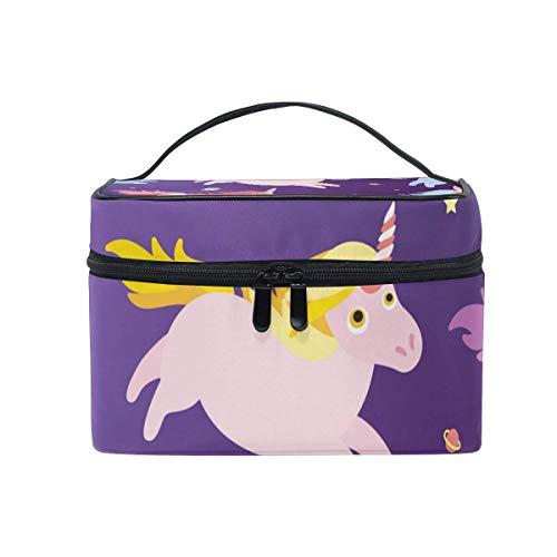 Colorido Unicornio Bolsa de cosméticos Artículos de tocador Estuche de Maquillaje de Viaje Bolsa con asa Organizador multifunción para Mujeres-HH