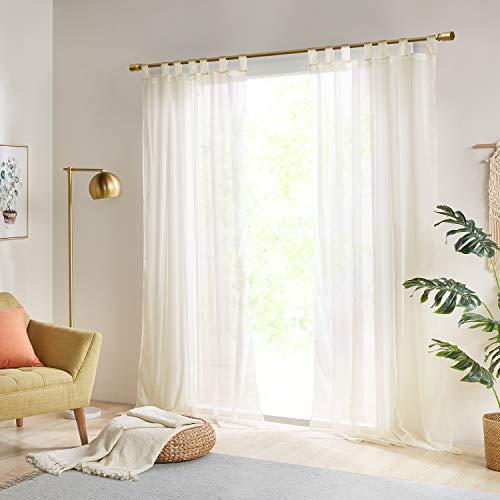 Gardinen Schals Vorhänge Transparent Vorhang für kleine Fenster Schlafzimmer Benny Ivory, kurz (2er-Set, je 145x140cm)