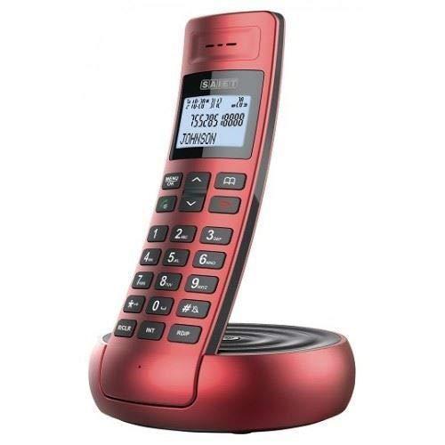 Saiet 13500781 Teléfono inalámbrico DECT GAP LCD, rojo