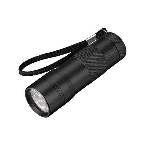 sourcing map UV Mini 12 LED Aluminium Lampe de poche Noir Lampe AAA Batterie Pas Inclus Noir