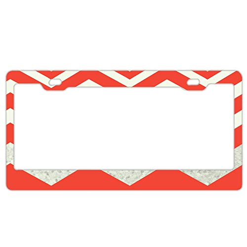 Promini Abstract Red White Chevron License Plate Frame Car License Plate Covers Auto Tag Holder 6' x 12'