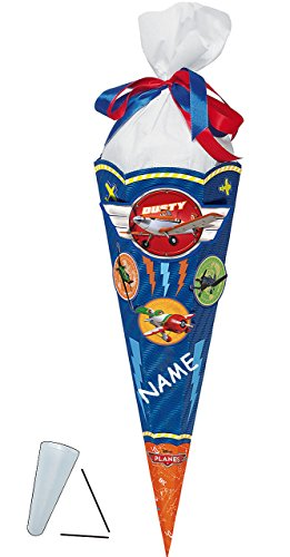 BASTELSET - Schultüte -  Disney Planes  - 85 cm incl. Namen - mit / ohne Kunststoff Spitze - Zuckertüte Nestler - ALLE Größen - 6 eckig für Jungen Flugzeuge..
