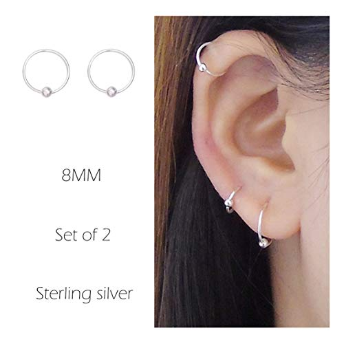 Sterling Cartilage Earrings Piercing Earring Nose Rings Hoop for Women Men Girls