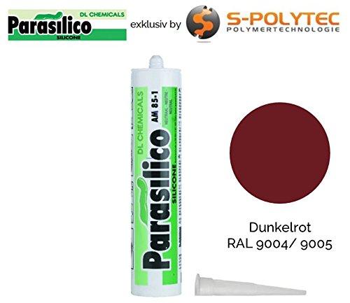 Profi Silikon Parasilico 310ml Kartusche Dichtstoff Sanitär, Küchenbereich, Innen-und Außen Bausilikon, Große Farbauswahl (dunkelrot RAL 3004/3005)