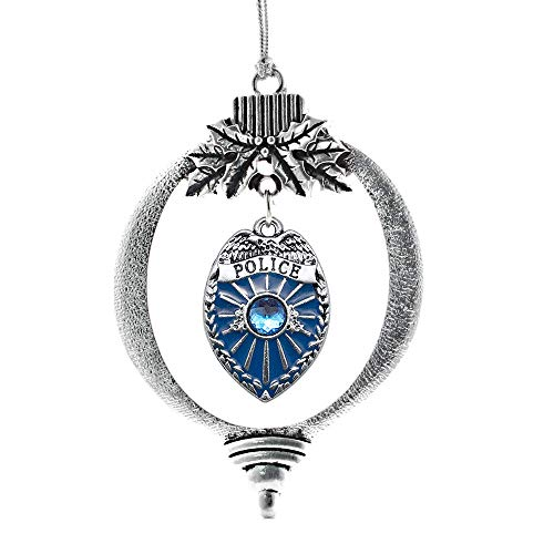 Inspired Silver - Blue Police Badge Charm Ornament - Silver Customized Charm Holiday Ornaments with Cubic Zirconia Jewelry