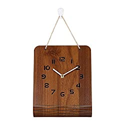 BECANOE Wooden Wall Clock Silent Non-Ticking Large Hollow Out Numbers Brown Home/Kitchen/Office/School Clocks (Dark Brown)