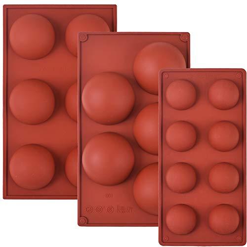Cozihom Juego de moldes de Silicona semiesfera para Bola de Chocolate, Pastel, gelatina, pudín, jabón casero, Paquete de 3