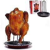 Rack de frango Justdolife, suporte vertical antiaderente para assadeira, assadeira de frango com frigideira