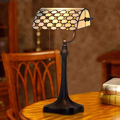 MDSQ Tiffany Style Lámpara De Mesa Ámbar Piedras Preciosas Vidrieras Retro Beige Mesa Lámpara Interruptor De Tiro W25 * H44CM