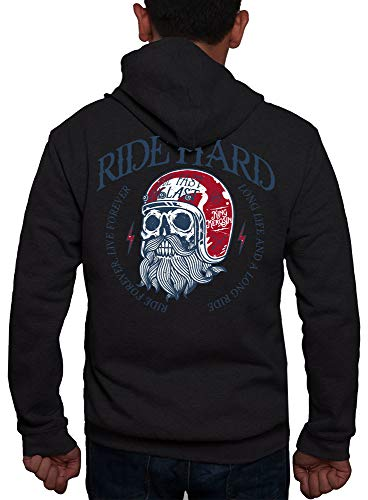 Rebel on Wheels Zip Hoodie Ride Hard Zwart L