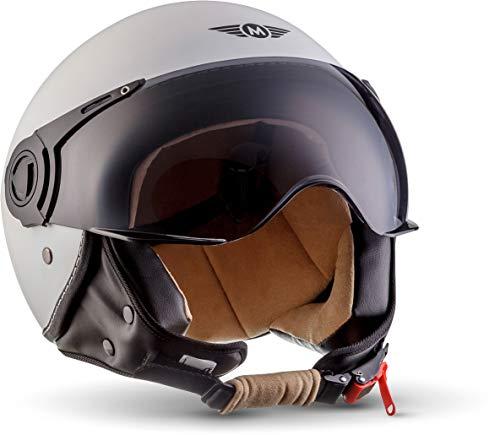 "Moto Helmets® H44 ""Matt White"" · Jet-Helm · Motorrad-Helm Roller-Helm Scooter-Helm Bobber Mofa-Helm Chopper Retro Cruiser Vintage Pilot Biker Helmet · ECE Visier Schnellverschluss Tasche S (55-56cm)"