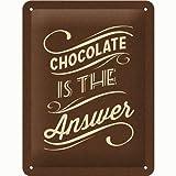 Nostalgic-Art Cartel de Chapa 15x20 -Chocolate is The Answer