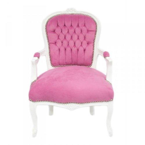 Casa Padrino Barock Salon Stuhl Mod1 Rosa / Weiss