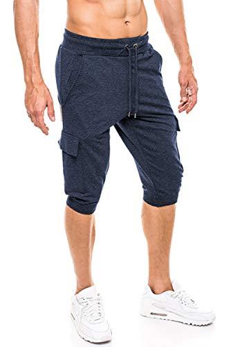KEFITEVD Kurze Jogginghose Herren Slim Fit mit Seitlichen Taschen Cargo Pants Fitness Hose Jogging Shorts Sommer Leichte Trainingshose Dunkelblau 32