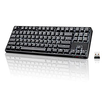 Wireless Mechanical Keyboard VELOCIFIRE TKL02WS 87 Key Tenkeyless Ergonomic with Brown Switches and White LED Backlit for Copywriters Typists and Programmers